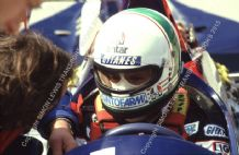 Andrea De Cesaris. Ligier cocpkit Brands Hatch 1984 photo